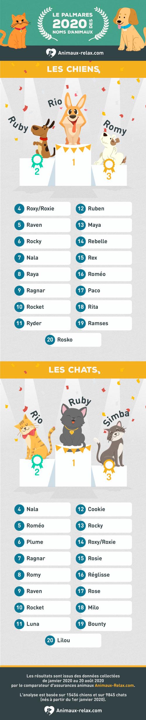Noms de chiens et chats populaires en 2020