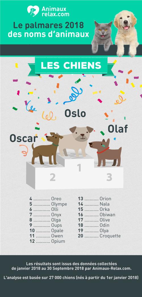 Noms de chiens populaires en 2018